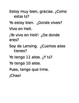 Spanish Saludos Conversation Scramble