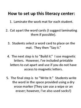 Spanish Say, Build, Write (Kindergarten)