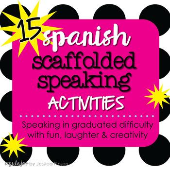 Spanish Scaffolded Grammar Speaking Activity Sheets Bundle!