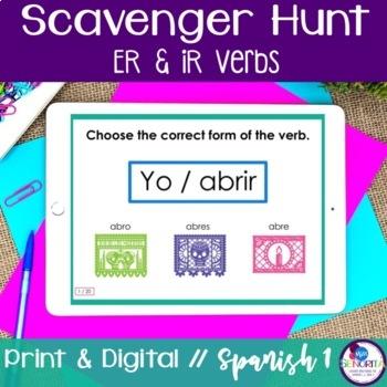 Spanish Scavenger Hunt - ER & IR verbs