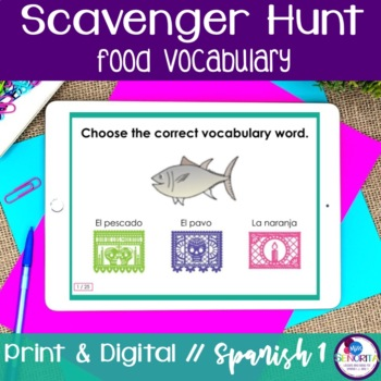 Spanish Scavenger Hunt - Food Vocabulary
