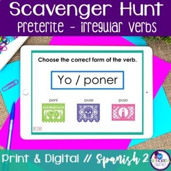 Spanish Scavenger Hunt - Preterite Tense (Irregular Verbs)
