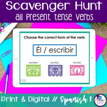 Spanish Scavenger Hunt - all present tense verbs
