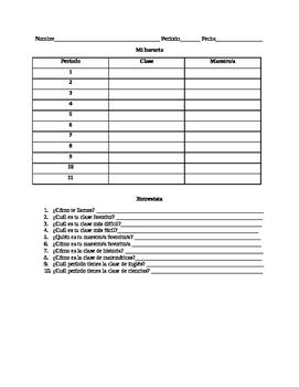 Spanish Schedule Activity
