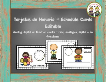 Spanish Schedule Cards ~ Tarjetas del Horario