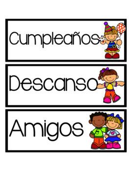 Spanish Schedule Cards-Tarjetas del horario