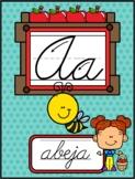 Spanish School Apples Themed Cursive Alphabet (Abecedario Cursivo Manzanas )