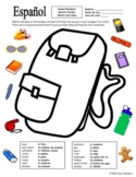 Spanish School Backpack Sketch and Label Activity / Class Objects