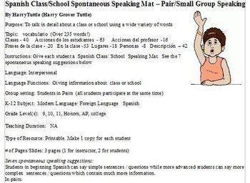 Spanish School  Class Spontaneous Speaking Mat Partners