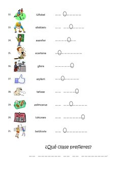 Spanish School, Classes, Sports Vocabulary Scramble Worksheet