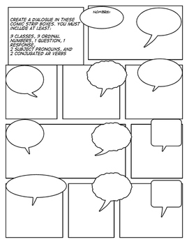 Spanish School Day Comic Strip