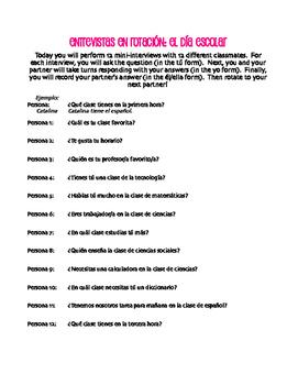 Spanish School Day Rotating Interviews