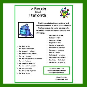 Spanish - School Flashcards