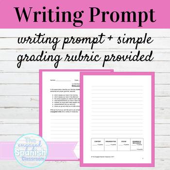 Spanish School Life Writing Prompt