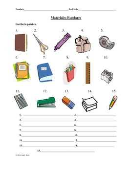 Spanish School Materials Practice Worksheet #2 (La Escuela)
