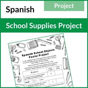 Spanish School Materials Poster Project (Realidades 2B, La Escuela)