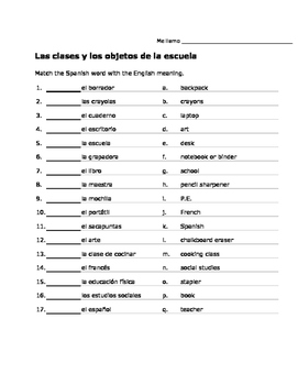Spanish School Objects and Classes Vocab Activities