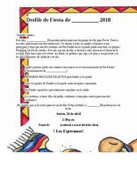 Spanish School Parade letter