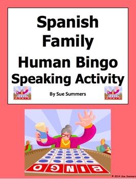 Spanish Family Human Bingo Game Speaking Activity & Follow-Up