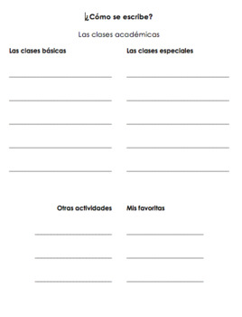 Spanish School Subject Graphic Organizer / Asignaturas