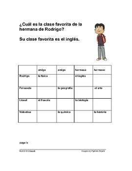 Spanish School Subjects Info Gap Game: Las Clases / Materias Favoritas