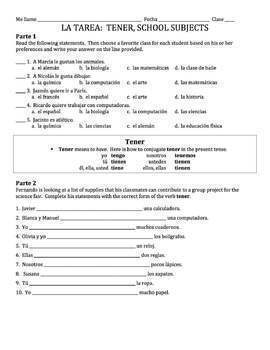 Spanish School Subjects Lesson - all forms of tener