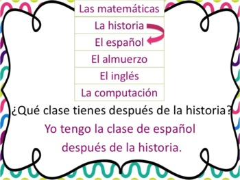 Spanish School Subjects Powerpoint with antes and despues