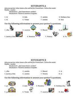 Spanish School Subjects Speaking Activity - all forms of tener