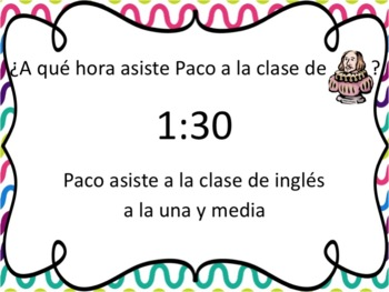 Spanish School Subjects & Time with Asistir Powerpoint