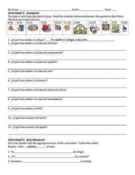 Spanish School Subjects & Time with Asistir Writing Activities