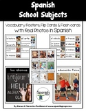 Spanish School Subjects Vocabulary Posters & Flashcards wi