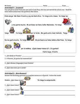 Spanish School Subjects Writing Activities - singular tener