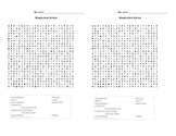 Spanish School Subjects and Supplies Wordsearch