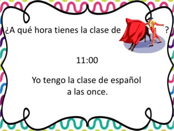 Spanish School Subjects with Time After the Hour Powerpoint