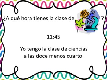 Spanish School Subjects with Time Before the Hour Powerpoint