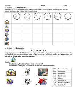Spanish School Subjects with Time Before the Hour Lesson