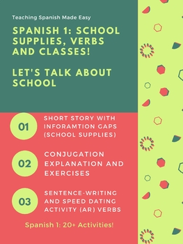 Spanish School Objects, Supplies, Ar, Er and IR verb activities, Short reading