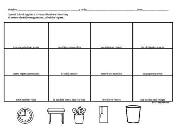 Spanish School Supplies, Colors and Numbers Comic Strip (La Escuela)