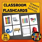 Spanish School Supplies Flashcards, Materiales escolares