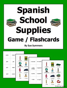 Spanish School Supplies Game Cards / Flashcards