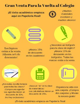 Freebie-Spanish School Supplies Infographic and Questions