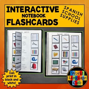 Spanish School Supplies, Items Interactive Notebook Flashcards, Escuela