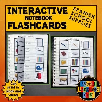 Spanish School Supplies Flashcards, Interactive Notebook Flashcards, Escuela