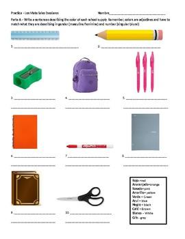 Spanish School Supplies Practice (2)
