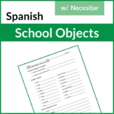 Spanish School Materials, Courses,  Necesitar Writing (Las Materias Escolares)