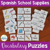 Spanish School Supplies Puzzles