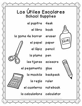 Spanish School Supplies Puzzles and Activities