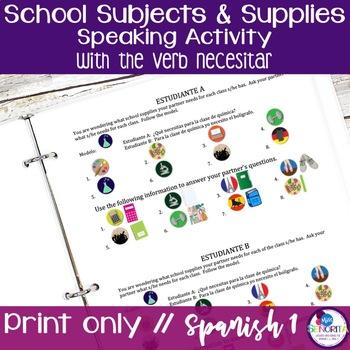 Spanish School Supplies & Subjects Speaking Activity