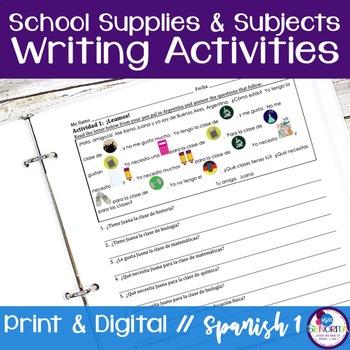 Spanish School Supplies & Subjects Writing Activities