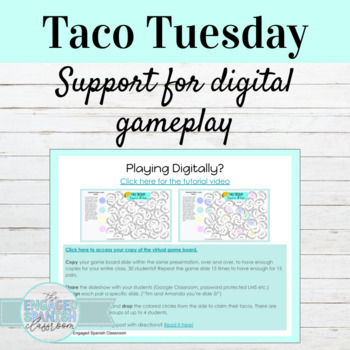 Spanish School Supplies Taco Tuesday Game Board
